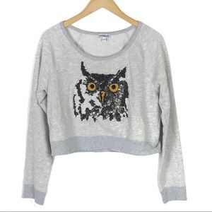 Express Sequin Owl Cropped Gray Sweatshirt Large